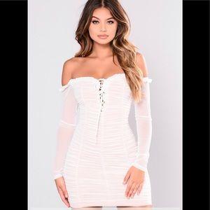 FashionNova Dress size 1X Mesh White NWT